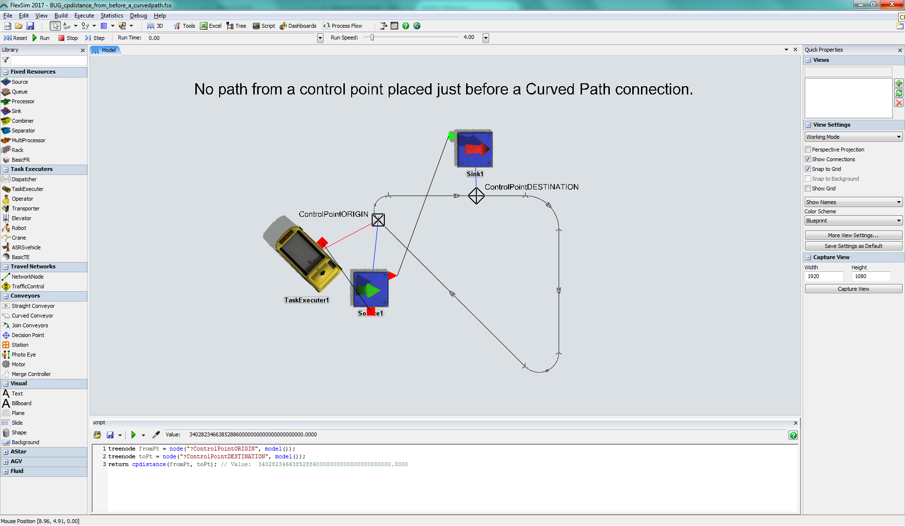No valid path from a control point placed just before a